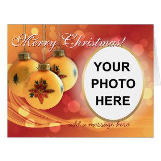 Texto customizável festivo da foto do Feliz Natal Cartão Comemorativo Grande