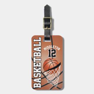 Texto do basquetebol | DIY do esporte Tag De Mala
