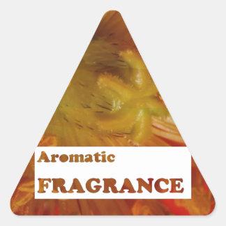 Texto Fragrâncias AROMÁTICAS Anuncie a especiali Adesivos Em Forma De Triângulo