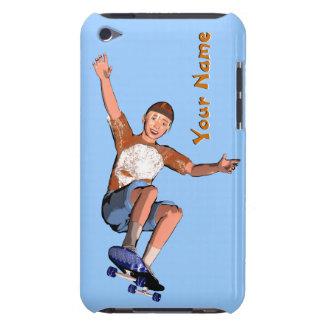 Texto Skateboarding do costume do menino Capa Para iPod Touch