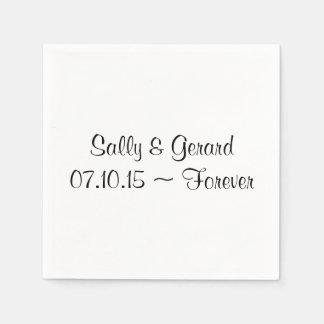 Texto Wedding personalizado do preto da parte tras Guardanapos De Papel