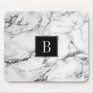 Textura de mármore moderna Monogrammed das cinzas Mouse Pad