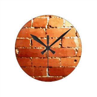 Textura do tijolo relógio redondo