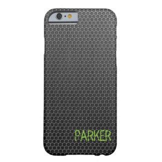 Textura legal do metal de grade com seu nome capa barely there para iPhone 6
