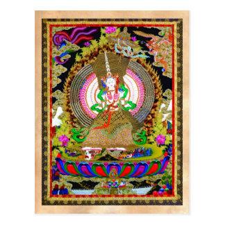 Thangka tibetano oriental legal Usnisa Sitatapatra Cartão Postal
