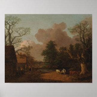 Thomas Gainsborough - paisagem com Milkmaid Poster