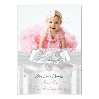 Tiara branca cor-de-rosa do diamante do laço do convite