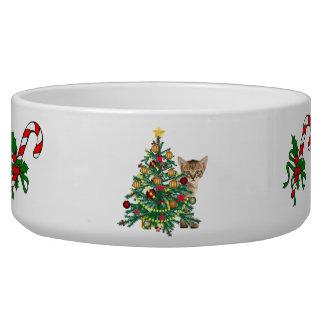 Tigela A bacia do animal de estimação do feriado do Natal