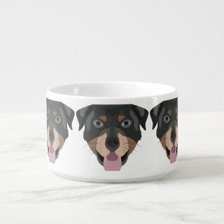 Tigela A ilustração persegue a cara Rottweiler