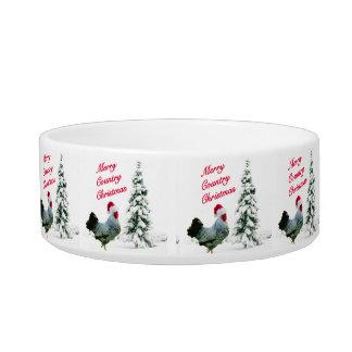 Tigela Galinha alegre do Natal do país com chapéu do papa
