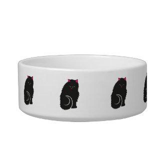 Tigela Gatos pretos macios do gatinho bonitos
