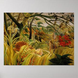 Tigre de Henri Rousseau em belas artes tropicais Poster