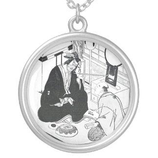 Tinta japonesa tradicional da arte oriental legal colar banhado a prata