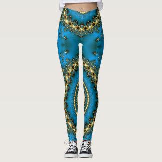 Tintura azul do laço do design leggings