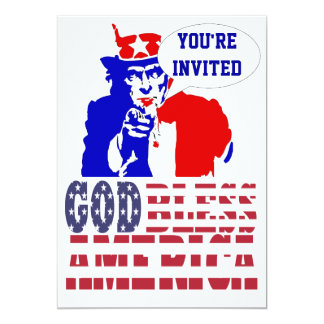 Tio Sam o 4 de julho Convite 12.7 X 17.78cm