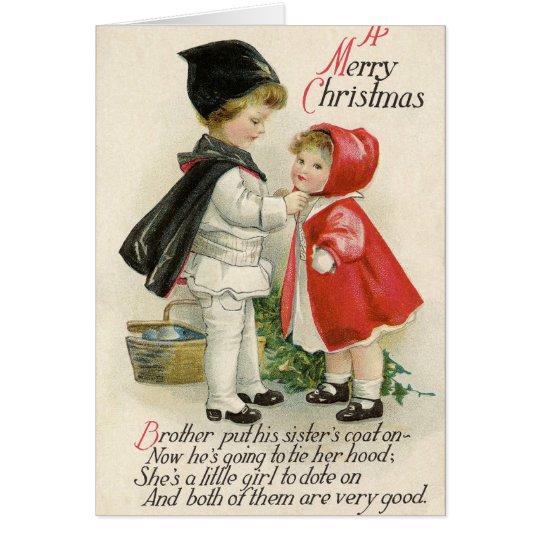 Tipografia das crianças do Natal da cor pastel do Cartão Comemorativo