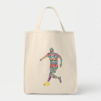 Tipografia do jogador de futebol sacola tote de mercado
