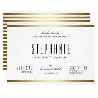 Tipografia moderna aniversário de | branco & do convite 12.7 x 17.78cm
