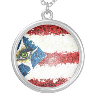 Tira porto-riquenha de Sterling da bandeira do Colar Banhado A Prata