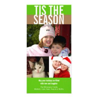 Tis o cumprimento marrom verde corajoso do Natal d Cartão Com Foto