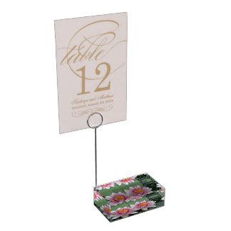 Titular do cartão de flutuação cor-de-rosa de suportes para cartao de mesa