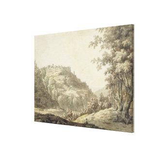 Tivoli, c.1768 (w/c e caneta e tinta cinzenta sobr impressão de canvas esticadas