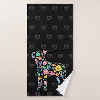 Toalha De Banho Amor bonito meu design floral de Boston Terrier