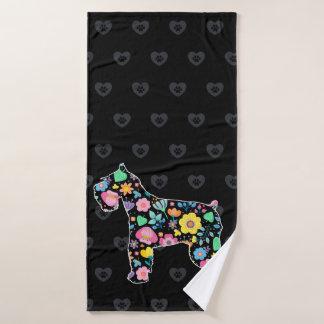 Toalha De Banho Amor bonito meu design floral do Schnauzer