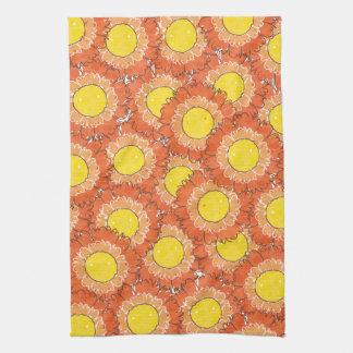 Toalha de cozinha bonita das flores - laranja