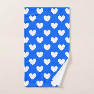 Toalha De Mão Corações brancos da polca no azul