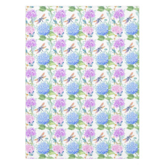 Toalha De Mesa Floral azul da lavanda da libélula do Hydrangea