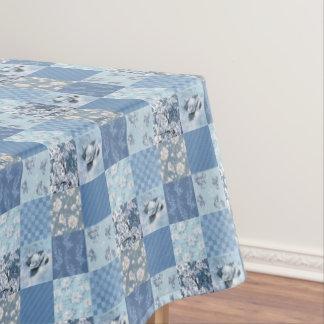 Toalha De Mesa Tablecloth floral azul dos retalhos