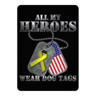 Todo meu dog tags do desgaste dos heróis convite 12.7 x 17.78cm