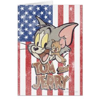 Tom & Jerry com bandeira dos E.U. Cartão Comemorativo