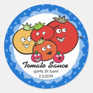 Tomates engraçados da cor feita sob encomenda que adesivos em formato redondos