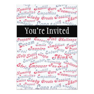 Tome-o às palavras inspiradores do coração convite 12.7 x 17.78cm