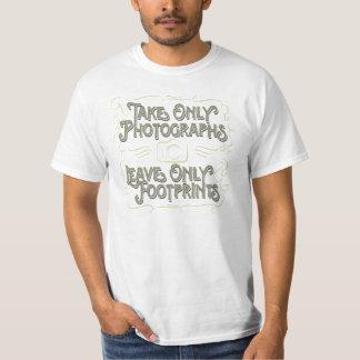 Tome somente fotografias, deixe somente pegadas camiseta