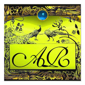 Topázio do amarelo do preto do MONOGRAMA dos Convite Quadrado 13.35 X 13.35cm