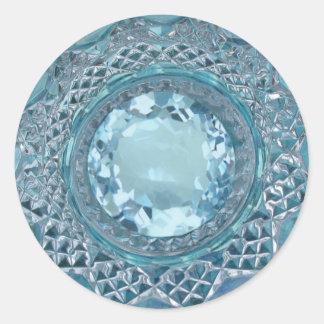 Topázio e vidro de corte azuis adesivo