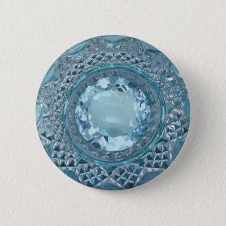 Topázio e vidro de corte azuis bóton redondo 5.08cm