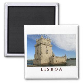 """""""Torre de ímã de Belém, Lisboa"""" Ímã Quadrado"""
