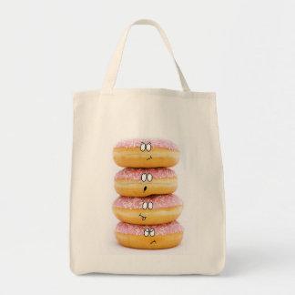 torre do saco cor-de-rosa dos caráteres da filhós sacola tote de mercado