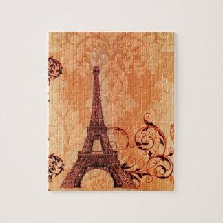 Torre Eiffel alaranjada chique boémia de Paris do Quebra-cabeças