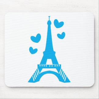 Torre Eiffel azul com corações do amor Mousepad