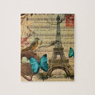Torre Eiffel azul de Paris do ninho do pássaro do Quebra-cabeças