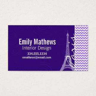 Torre Eiffel; Chevron roxo Cartão De Visitas
