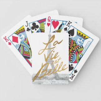 Torre Eiffel com escrita do ouro Jogo De Carta