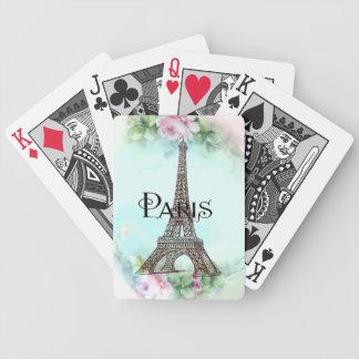 Torre Eiffel de Paris & rosas cor-de-rosa Baralhos De Pôquer