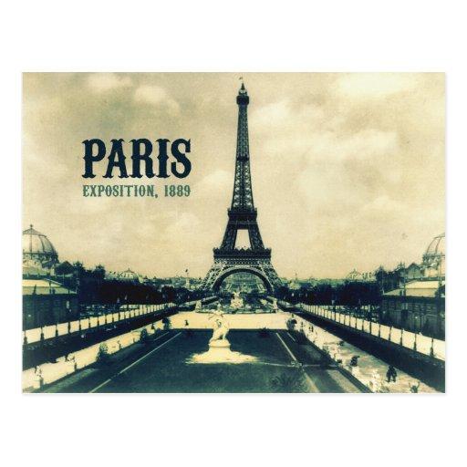 Torre Eiffel do vintage, Paris, 1889 Cartoes Postais