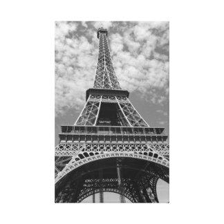 Torre Eiffel em preto e branco Impressão De Canvas Envolvida